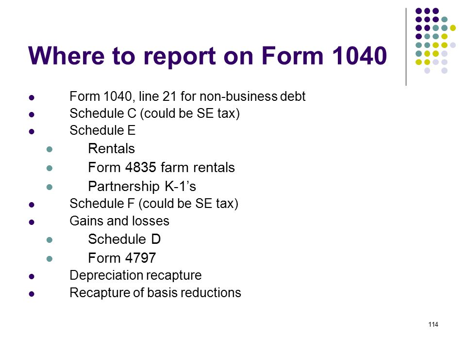 114 Where to report on Form 1040 Form 1040, line 21 for non-business debt Schedule C (could be SE tax) Schedule E Rentals Form 4835 farm rentals Partn