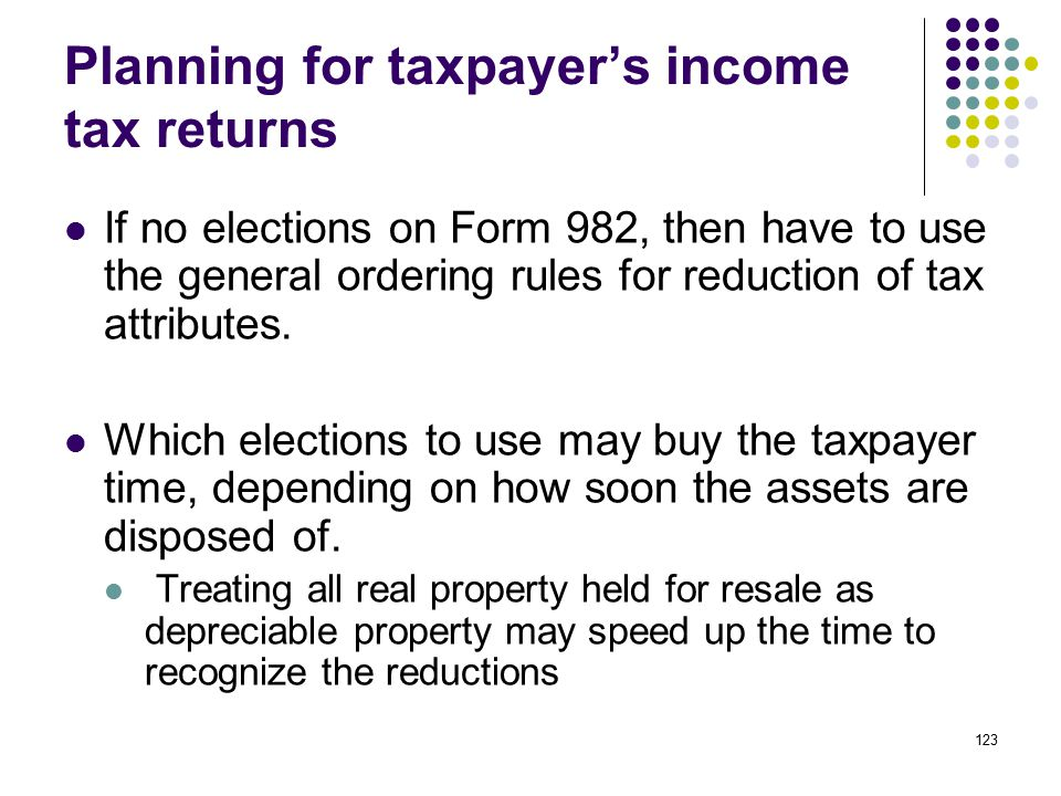 123 Planning for taxpayer's income tax returns If no elections on Form 982, then have to use the general ordering rules for reduction of tax attribute