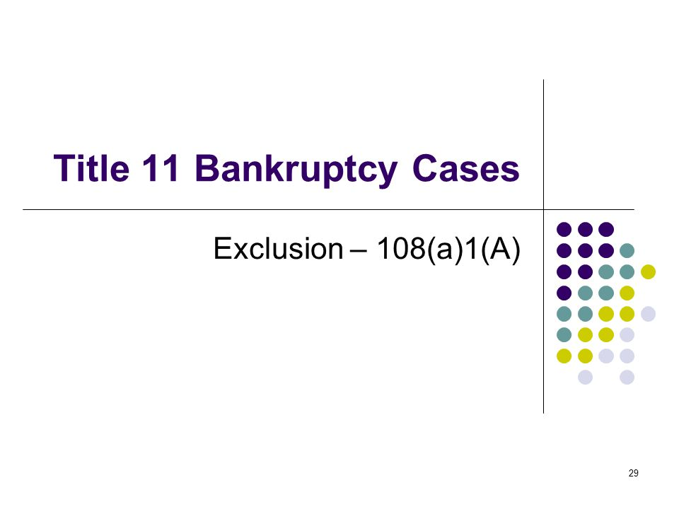 29 Title 11 Bankruptcy Cases Exclusion – 108(a)1(A)