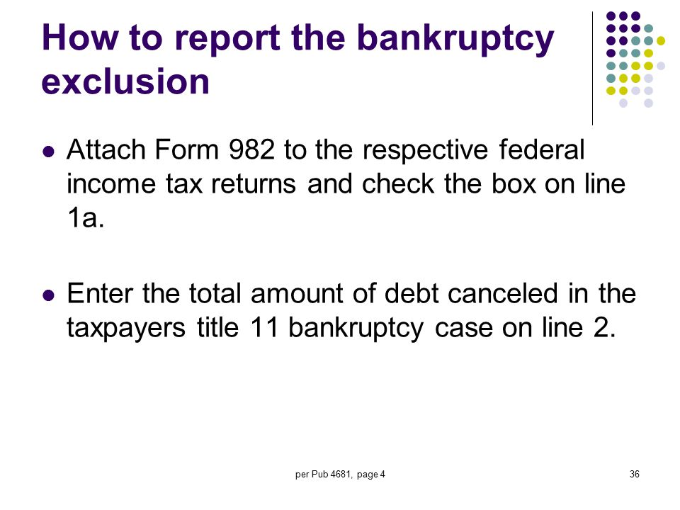 per Pub 4681, page 436 How to report the bankruptcy exclusion Attach Form 982 to the respective federal income tax returns and check the box on line 1