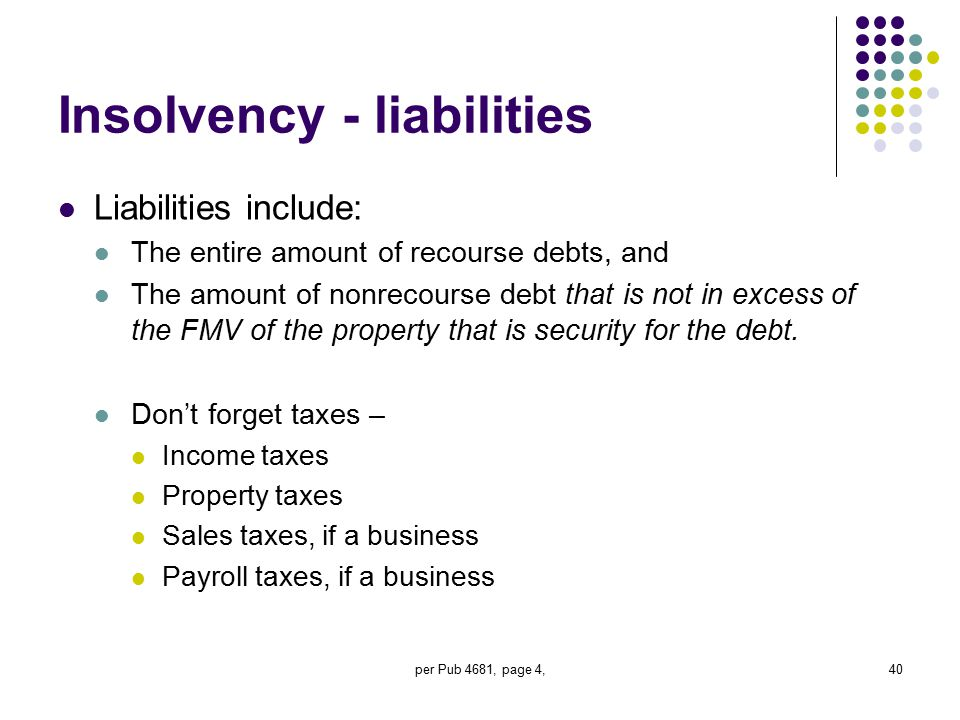 per Pub 4681, page 4,40 Insolvency - liabilities Liabilities include: The entire amount of recourse debts, and The amount of nonrecourse debt that is