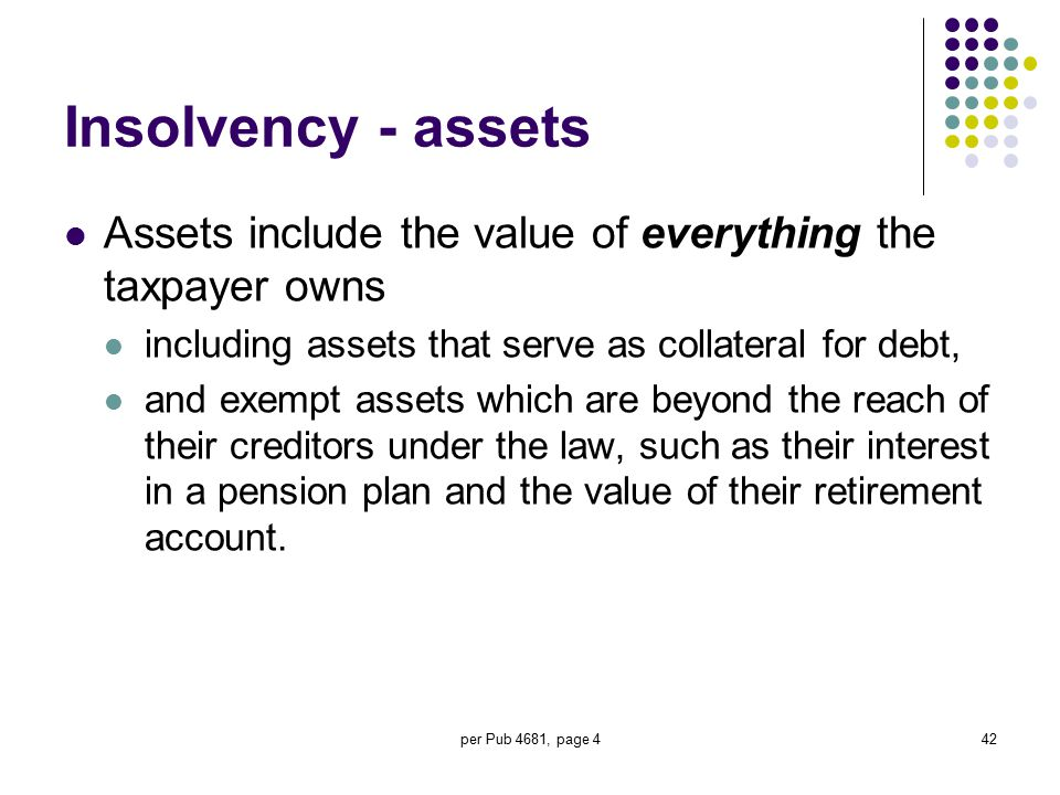 per Pub 4681, page 442 Insolvency - assets Assets include the value of everything the taxpayer owns including assets that serve as collateral for debt