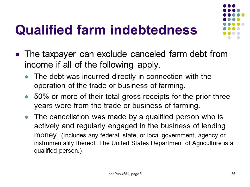 per Pub 4681, page 556 Qualified farm indebtedness The taxpayer can exclude canceled farm debt from income if all of the following apply. The debt was