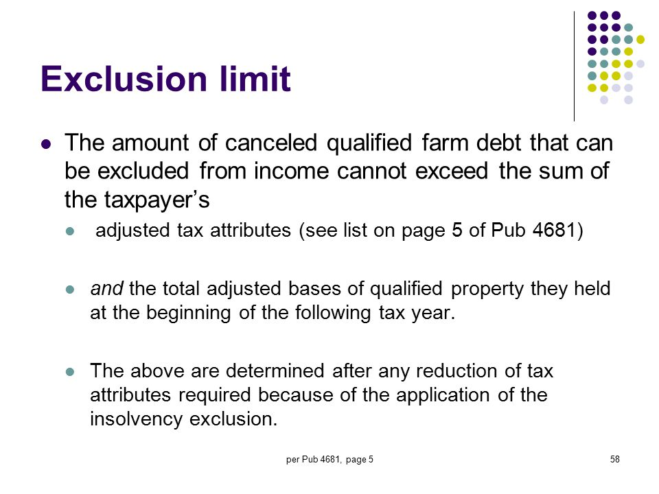 per Pub 4681, page 558 Exclusion limit The amount of canceled qualified farm debt that can be excluded from income cannot exceed the sum of the taxpay
