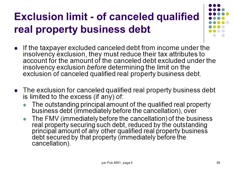 per Pub 4681, page 668 Exclusion limit - of canceled qualified real property business debt If the taxpayer excluded canceled debt from income under th