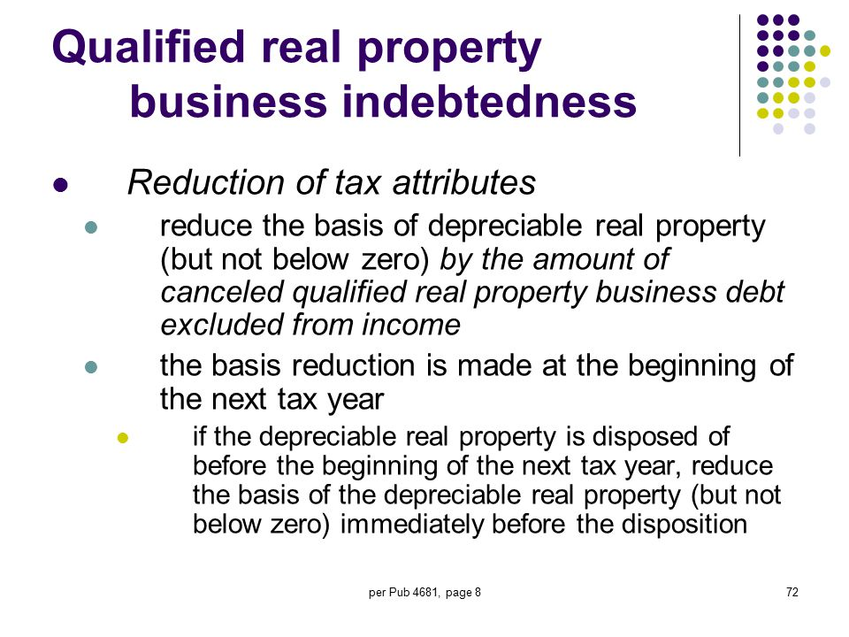 per Pub 4681, page 872 Qualified real property business indebtedness Reduction of tax attributes reduce the basis of depreciable real property (but no
