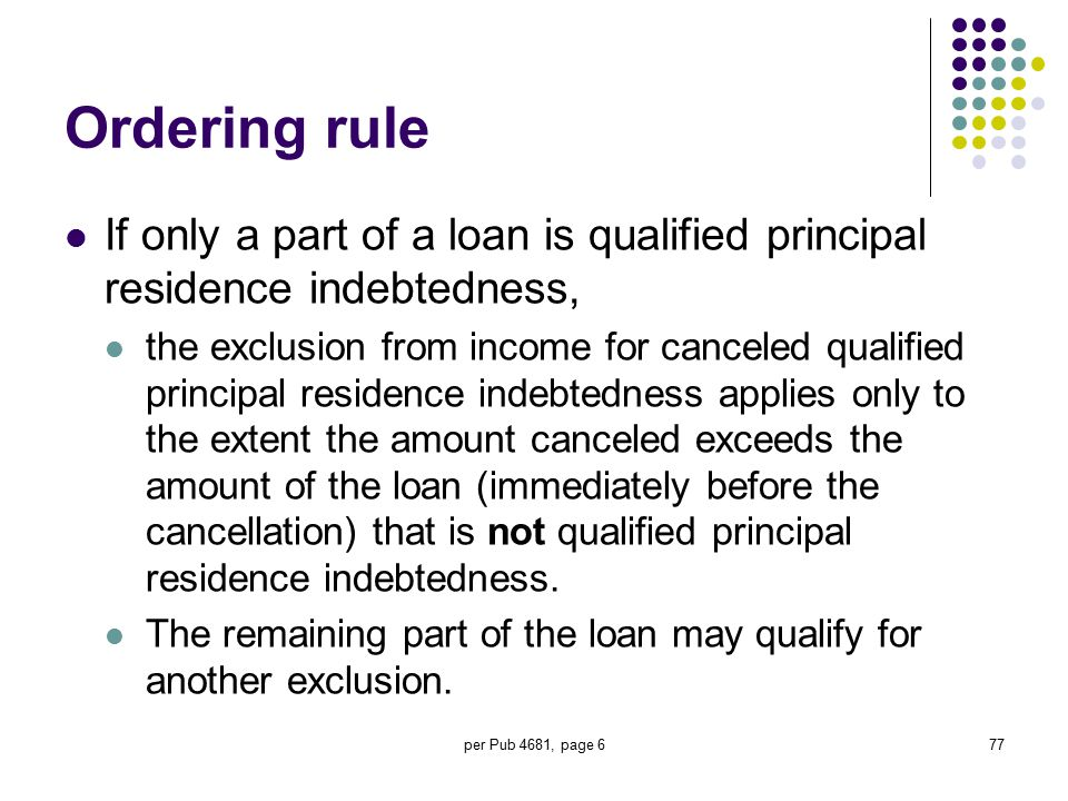 per Pub 4681, page 677 Ordering rule If only a part of a loan is qualified principal residence indebtedness, the exclusion from income for canceled qu