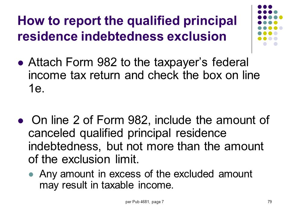 per Pub 4681, page 779 How to report the qualified principal residence indebtedness exclusion Attach Form 982 to the taxpayer's federal income tax ret