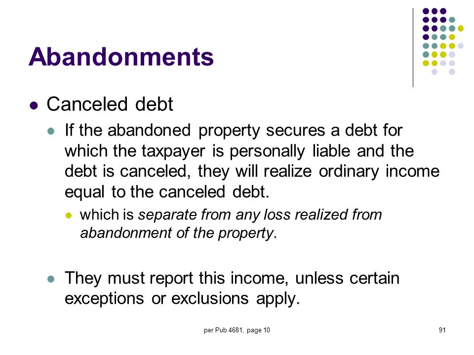 per Pub 4681, page 1091 Abandonments Canceled debt If the abandoned property secures a debt for which the taxpayer is personally liable and the debt i