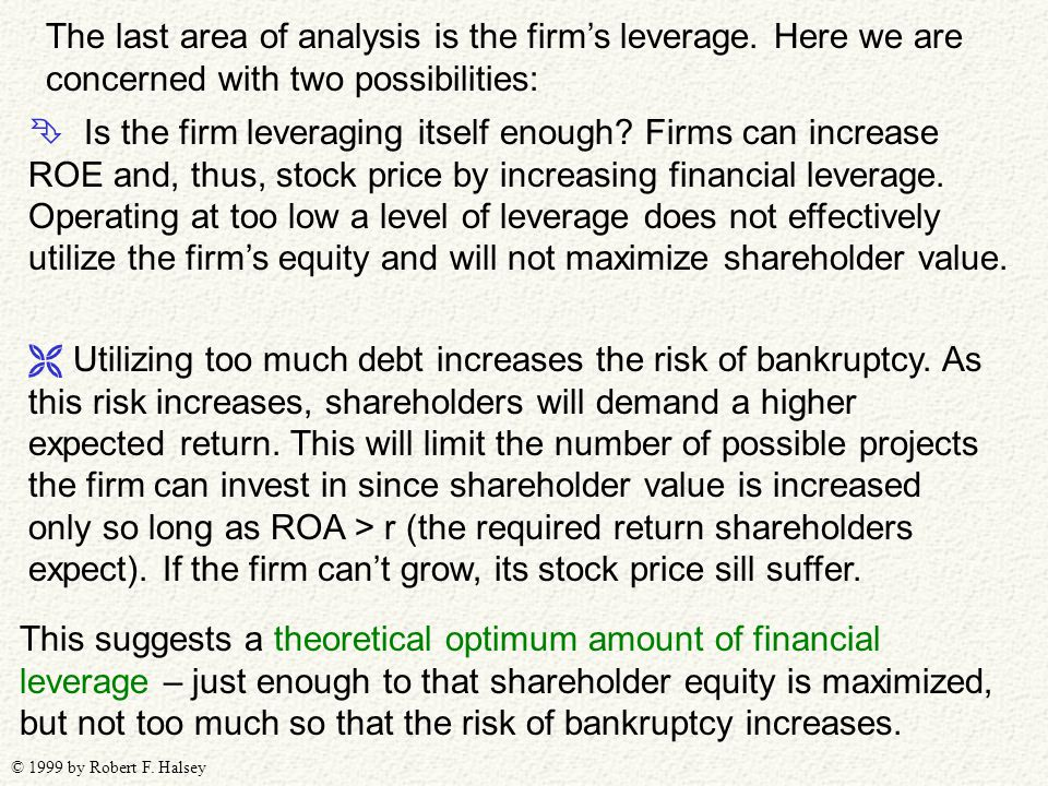 © 1999 by Robert F. Halsey The last area of analysis is the firm's leverage. Here we are concerned with two possibilities:  Is the firm leveraging it