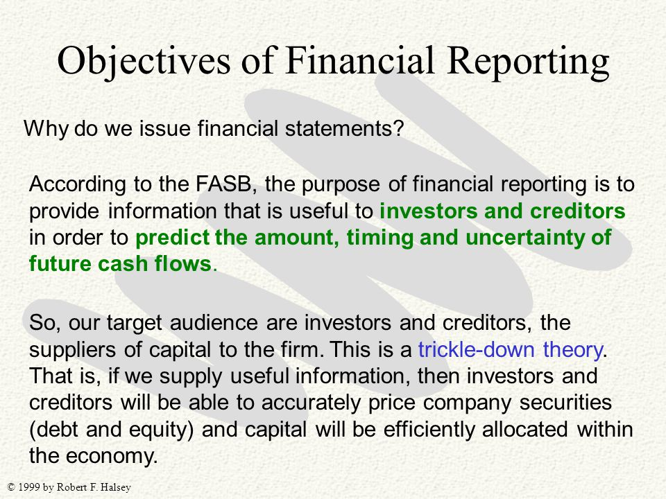 © 1999 by Robert F. Halsey Objectives of Financial Reporting Why do we issue financial statements? According to the FASB, the purpose of financial rep
