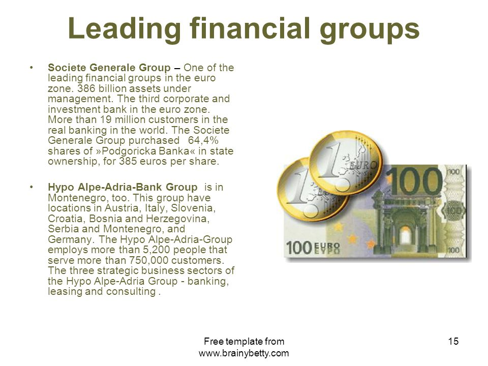 Free template from www.brainybetty.com 15 Leading financial groups Societe Generale Group – One of the leading financial groups in the euro zone.