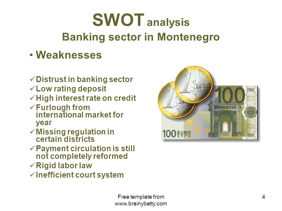 Free template from www.brainybetty.com 4 SWOT analysis Banking sector in Montenegro Weaknesses Distrust in banking sector Low rating deposit High interest rate on credit Furlough from international market for year Missing regulation in certain districts Payment circulation is still not completely reformed Rigid labor law Inefficient court system