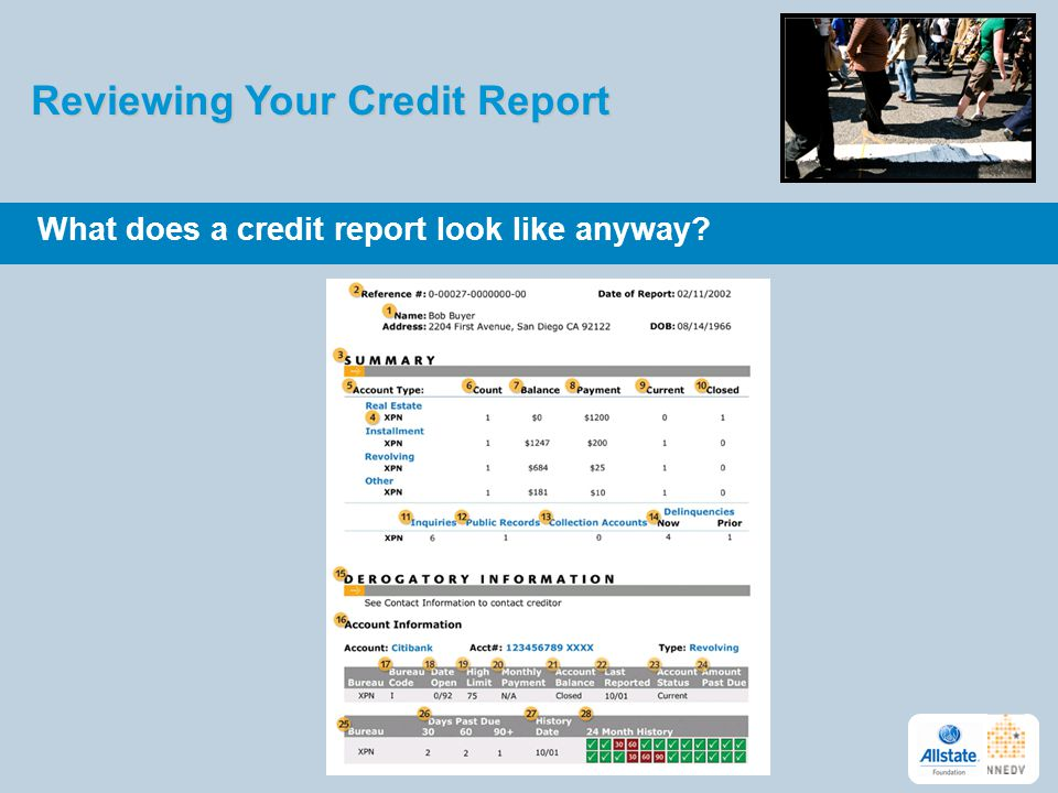 Reviewing Your Credit Report What does a credit report look like anyway? 8