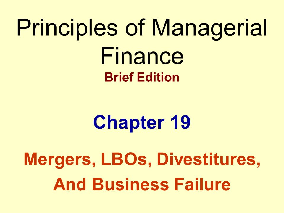 Learning Objectives Understand merger fundamentals, including basic terminology, motives for merging, and types of mergers.