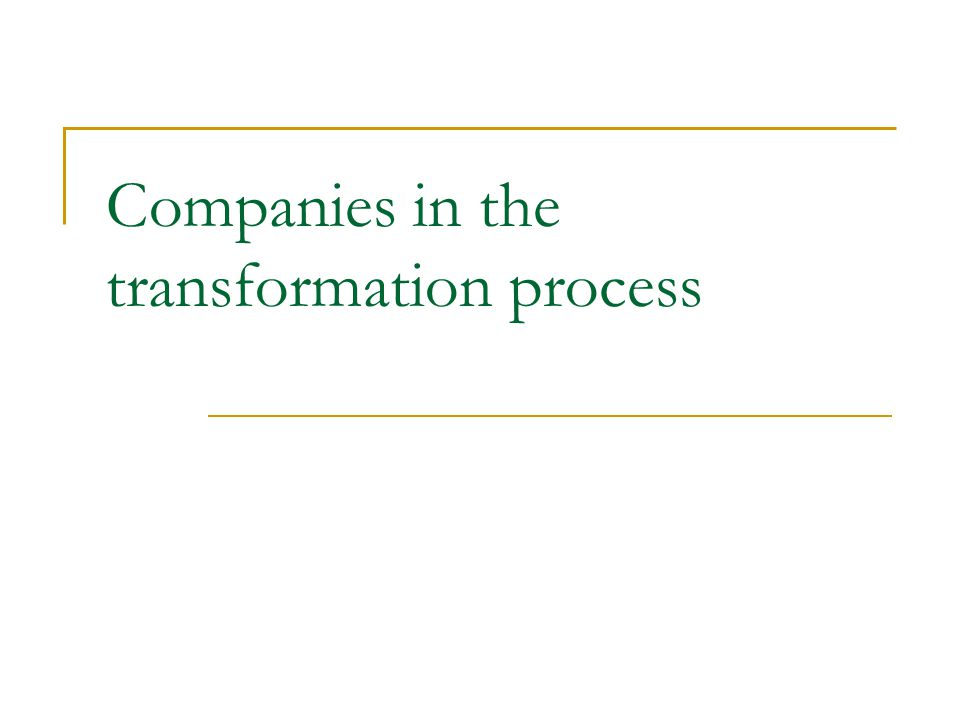 Companies in the transformation process