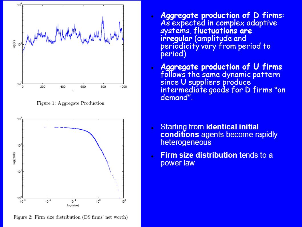 Starting from identical initial conditions agents become rapidly heterogeneous Firm size distribution tends to a power law Aggregate production of D firms: As expected in complex adaptive systems, fluctuations are irregular (amplitude and periodicity vary from period to period) Aggregate production of U firms follows the same dynamic pattern since U suppliers produce intermediate goods for D firms on demand .
