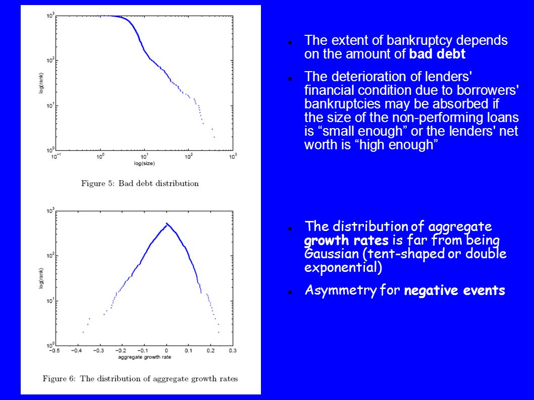 The extent of bankruptcy depends on the amount of bad debt The deterioration of lenders financial condition due to borrowers bankruptcies may be absorbed if the size of the non-performing loans is small enough or the lenders net worth is high enough The distribution of aggregate growth rates is far from being Gaussian (tent-shaped or double exponential) Asymmetry for negative events