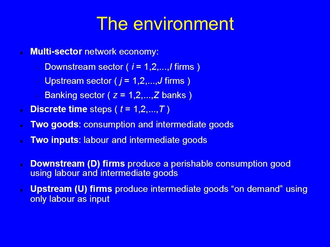 The environment We rule out (by construction) the possibility of avalanches of output due to the mismatch of demand and supply of intermediate goods along the supply chain (Bak, Chen, Scheinkman and Woodford, 1993) The financial side of the economy is characterized by two lending relationships:  D and U firms obtain credit from banks  D firms buy intermediate goods from U firms by means of a commercial credit contract Endogenous network formation according to the preferred-partner choice:  In every period each D firm looks for the U firm with the lowest price of intermediate goods; at the same time each firm searches for the bank with the lowest interest rate  The number of potential partners an agent can check in each period is limited (imperfect information)