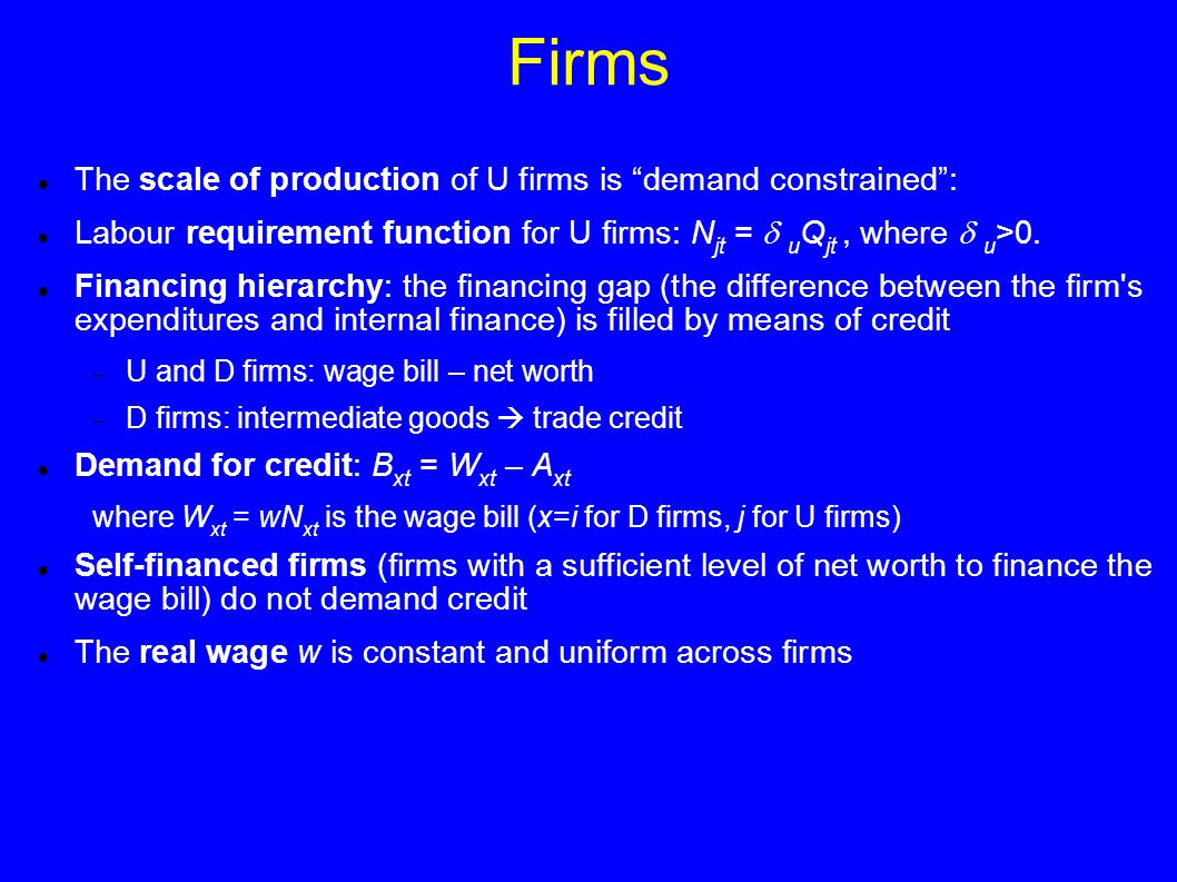 Firms The scale of production of U firms is demand constrained : Labour requirement function for U firms: N jt =  u Q jt, where  u >0.