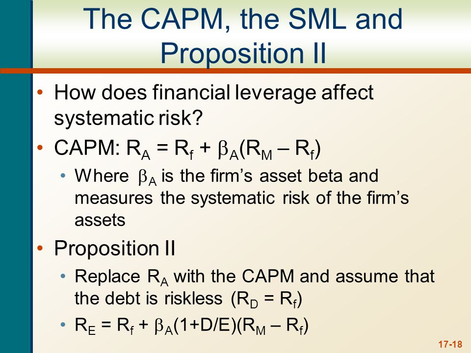 17-18 The CAPM, the SML and Proposition II How does financial leverage affect systematic risk.