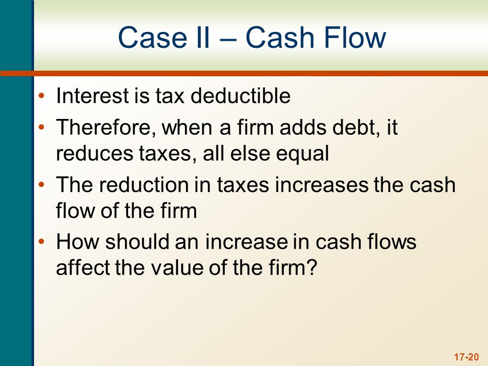 17-20 Case II – Cash Flow Interest is tax deductible Therefore, when a firm adds debt, it reduces taxes, all else equal The reduction in taxes increases the cash flow of the firm How should an increase in cash flows affect the value of the firm