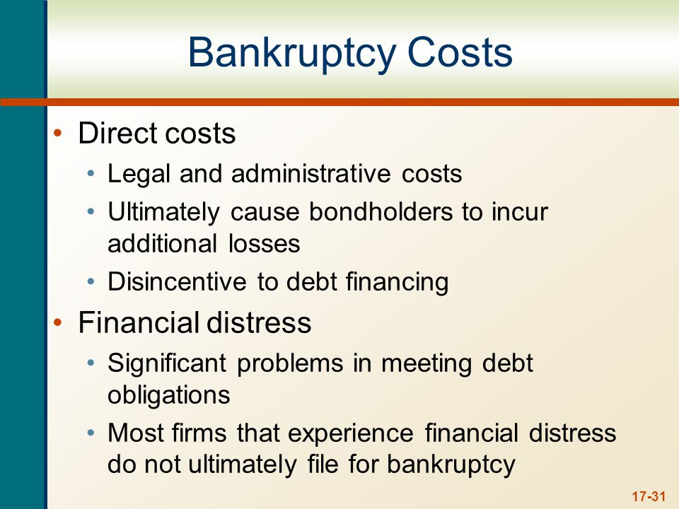 17-31 Bankruptcy Costs Direct costs Legal and administrative costs Ultimately cause bondholders to incur additional losses Disincentive to debt financing Financial distress Significant problems in meeting debt obligations Most firms that experience financial distress do not ultimately file for bankruptcy
