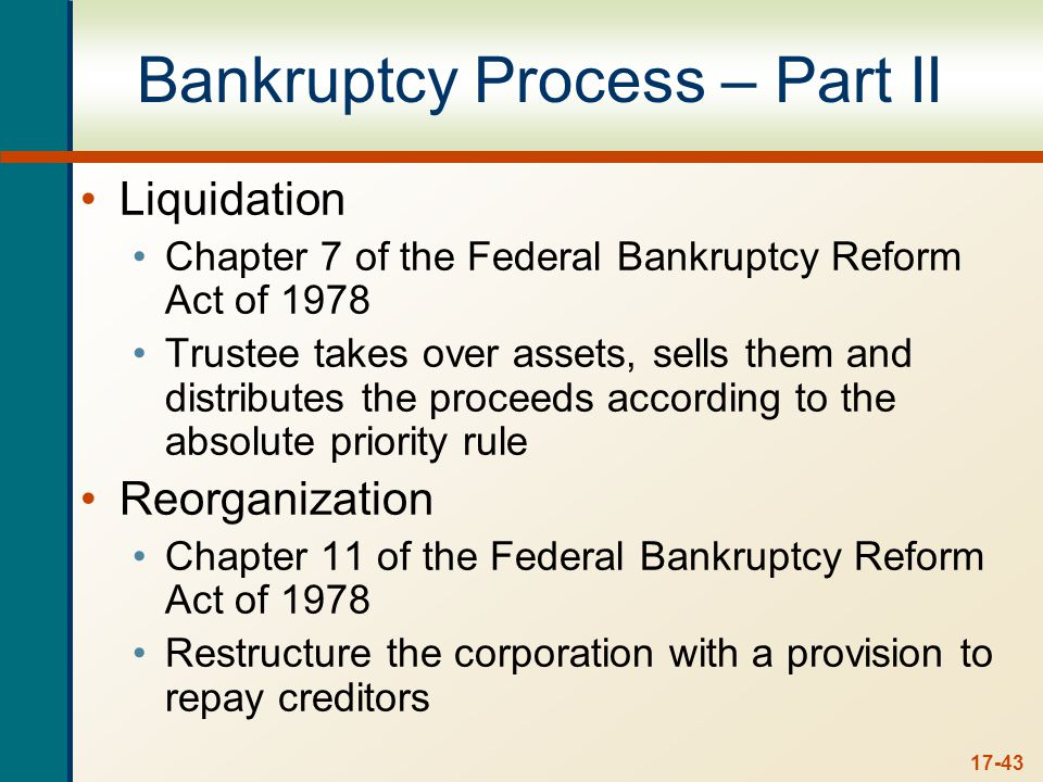 17-43 Bankruptcy Process – Part II Liquidation Chapter 7 of the Federal Bankruptcy Reform Act of 1978 Trustee takes over assets, sells them and distributes the proceeds according to the absolute priority rule Reorganization Chapter 11 of the Federal Bankruptcy Reform Act of 1978 Restructure the corporation with a provision to repay creditors