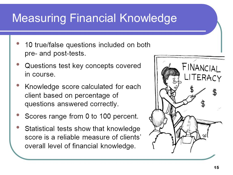 Measuring Financial Knowledge 10 true/false questions included on both pre- and post-tests.