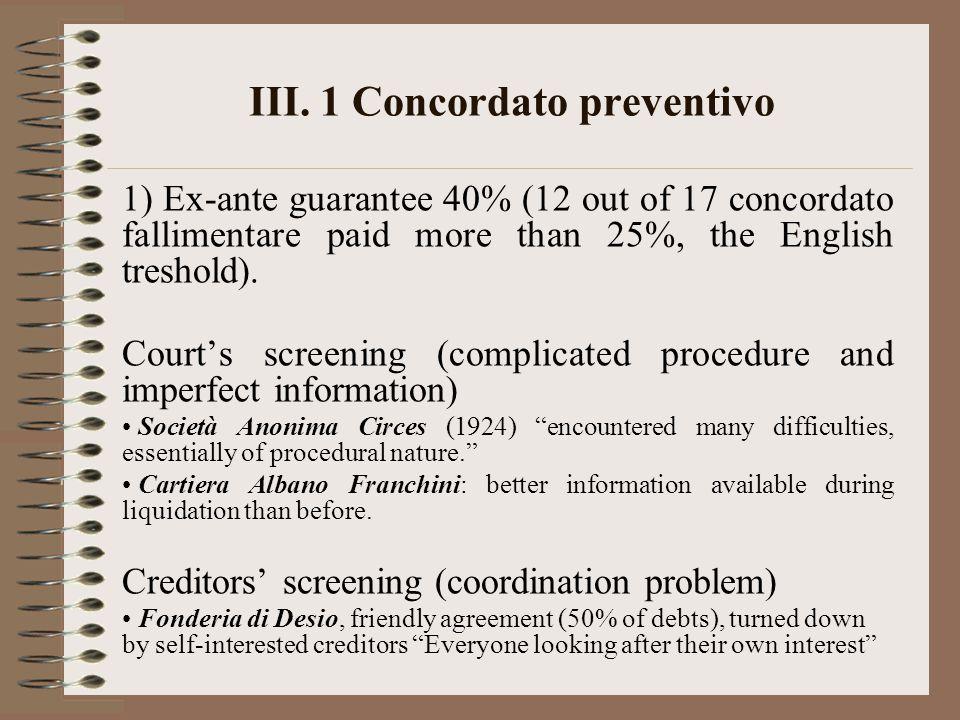 III. 1 Concordato preventivo 1) Ex-ante guarantee 40% (12 out of 17 concordato fallimentare paid more than 25%, the English treshold). Court's screeni
