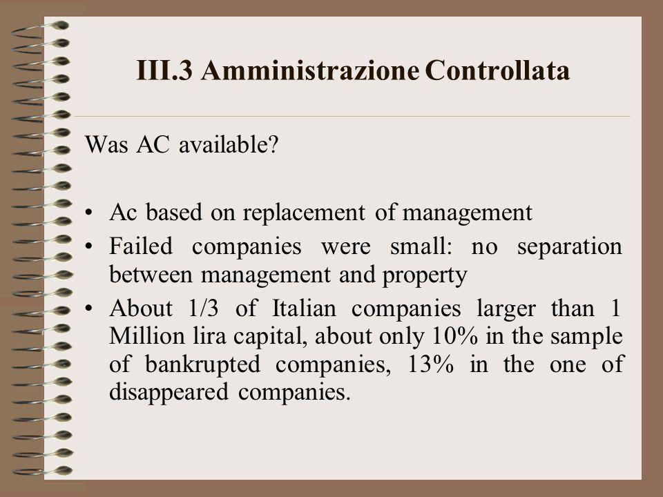 III.3 Amministrazione Controllata Was AC available.