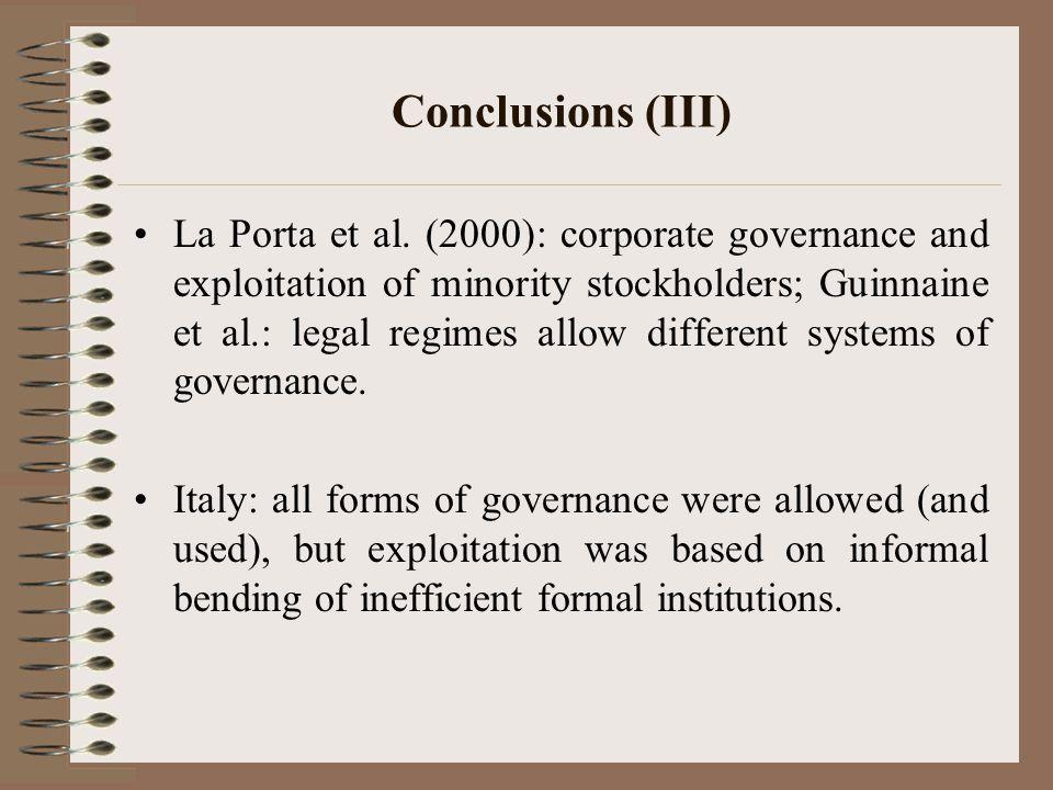 Conclusions (III) La Porta et al.
