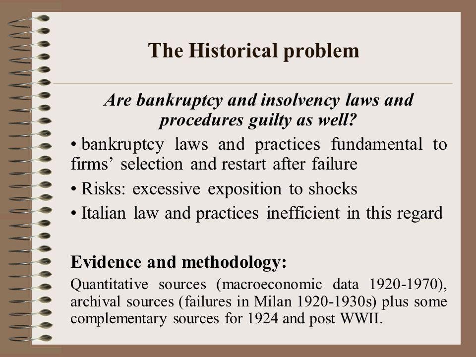 The Historical problem Are bankruptcy and insolvency laws and procedures guilty as well.