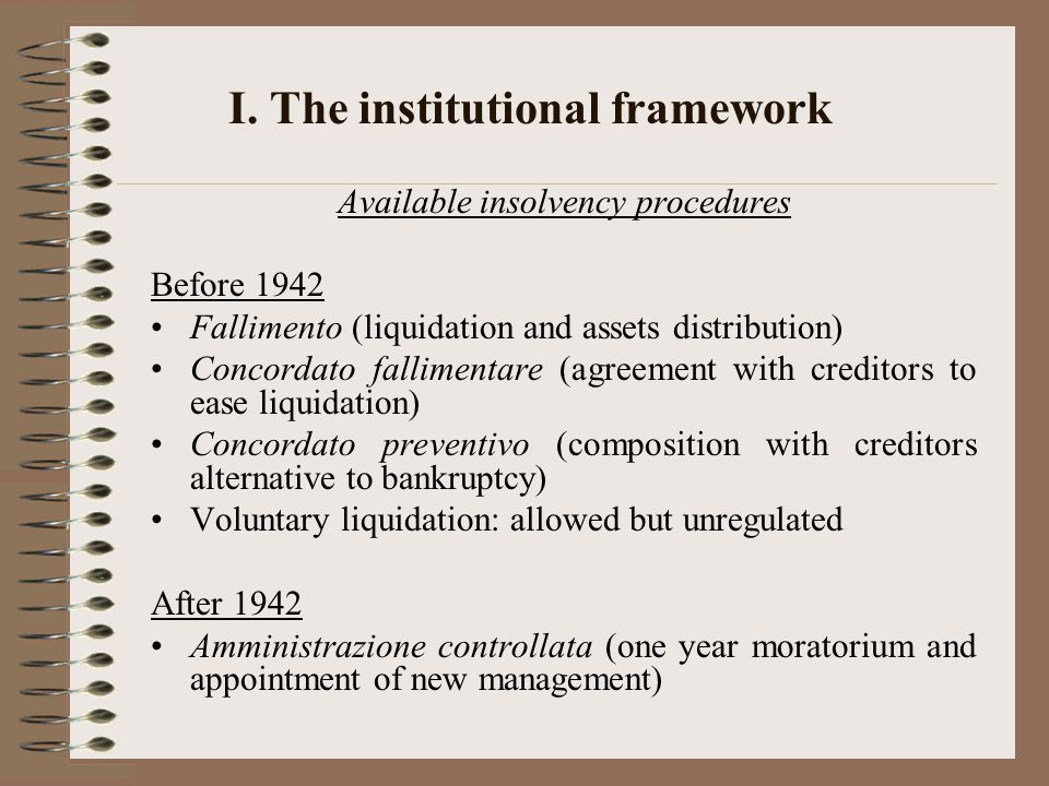 I. The institutional framework Available insolvency procedures Before 1942 Fallimento (liquidation and assets distribution) Concordato fallimentare (a