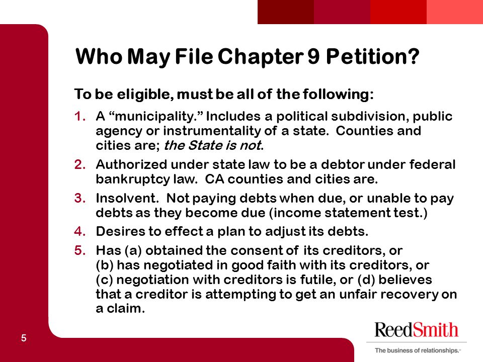 5 Who May File Chapter 9 Petition.