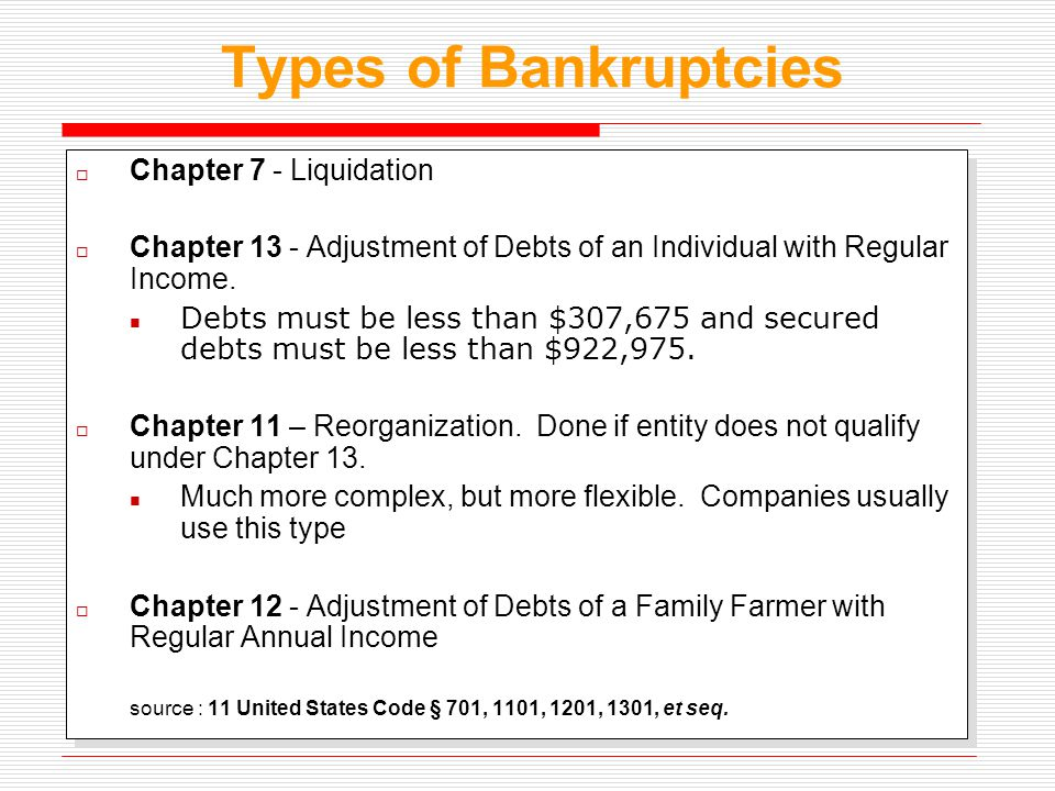 Types of Bankruptcies  Chapter 7 - Liquidation  Chapter 13 - Adjustment of Debts of an Individual with Regular Income. Debts must be less than $307,