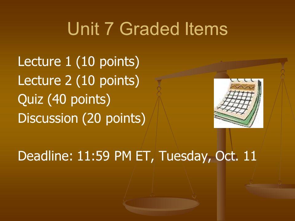 Unit 7 Graded Items Lecture 1 (10 points) Lecture 2 (10 points) Quiz (40 points) Discussion (20 points) Deadline: 11:59 PM ET, Tuesday, Oct.