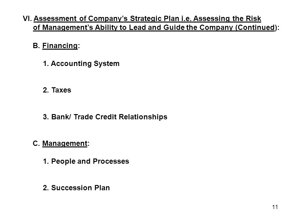 11 B. Financing: 1. Accounting System 2. Taxes 3. Bank/ Trade Credit Relationships C. Management: 1. People and Processes 2. Succession Plan VI. Asses
