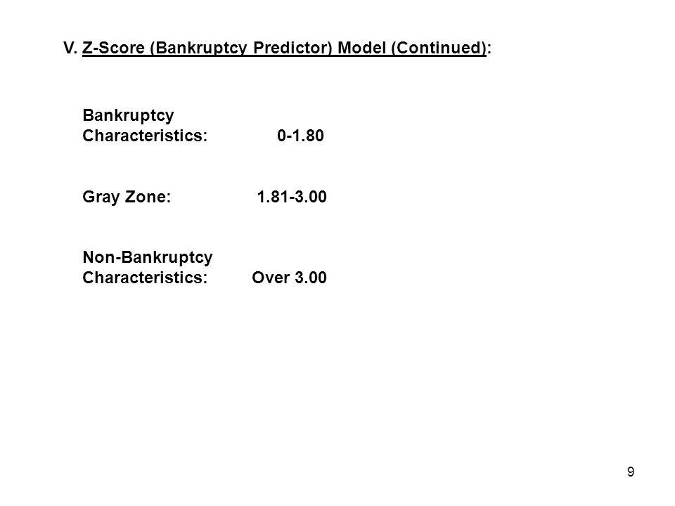 9 Bankruptcy Characteristics:0-1.80 Gray Zone: 1.81-3.00 Non-Bankruptcy Characteristics: Over 3.00 V.