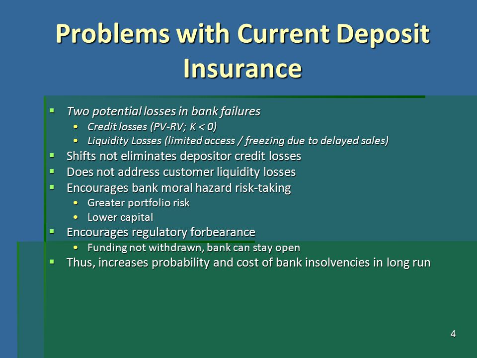 4 Problems with Current Deposit Insurance  Two potential losses in bank failures Credit losses (PV-RV; K < 0)Credit losses (PV-RV; K < 0) Liquidity L
