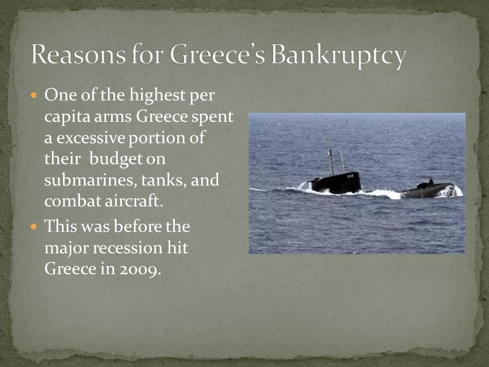 One of the highest per capita arms Greece spent a excessive portion of their budget on submarines, tanks, and combat aircraft.