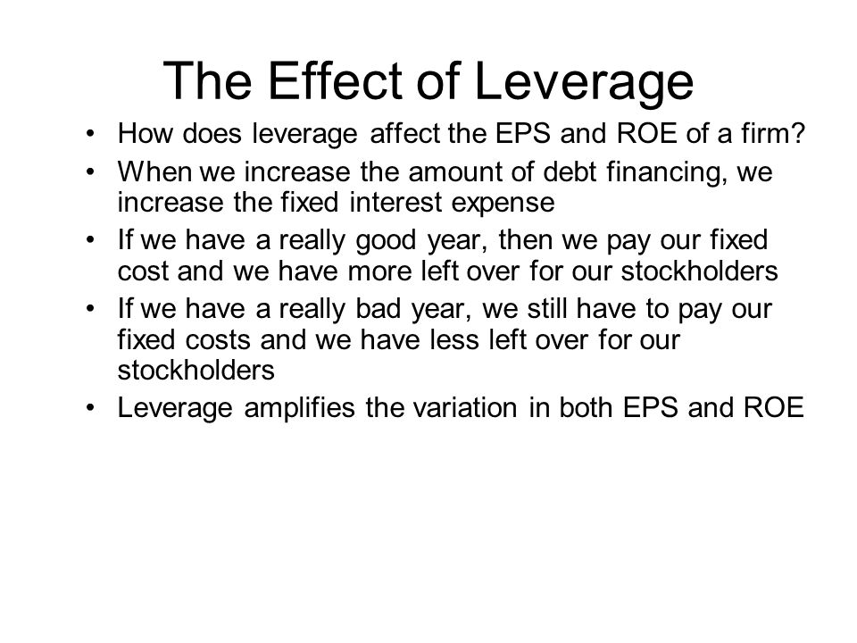 The Effect of Leverage How does leverage affect the EPS and ROE of a firm? When we increase the amount of debt financing, we increase the fixed intere