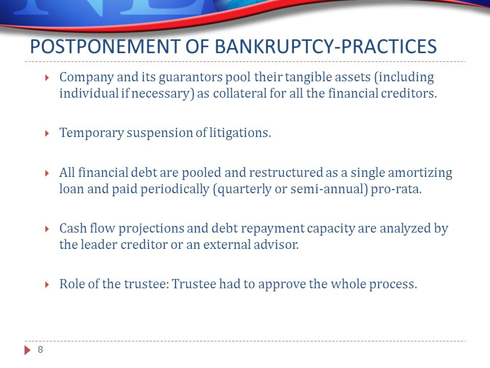 POSTPONEMENT OF BANKRUPTCY-PRACTICES  Company and its guarantors pool their tangible assets (including individual if necessary) as collateral for all the financial creditors.
