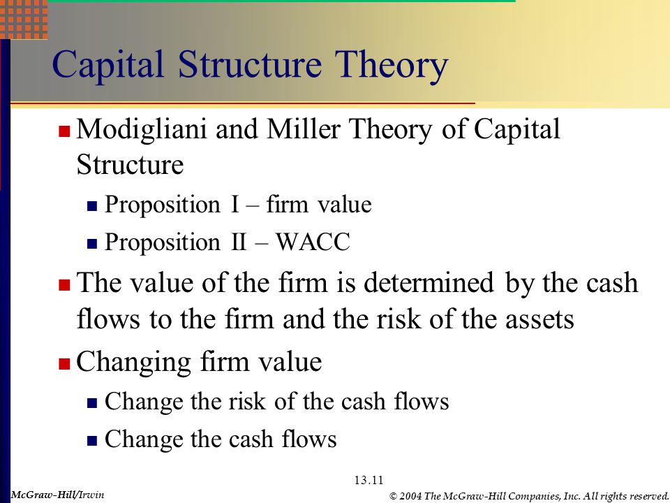 McGraw-Hill © 2004 The McGraw-Hill Companies, Inc. All rights reserved. McGraw-Hill/Irwin 13.11 Capital Structure Theory Modigliani and Miller Theory