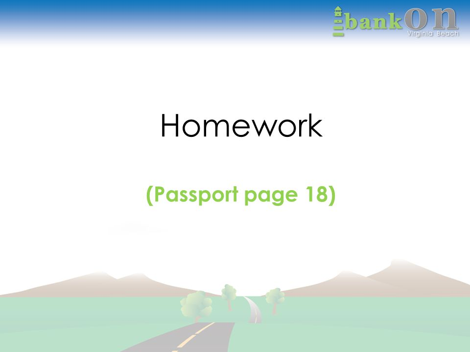 Homework (Passport page 18)