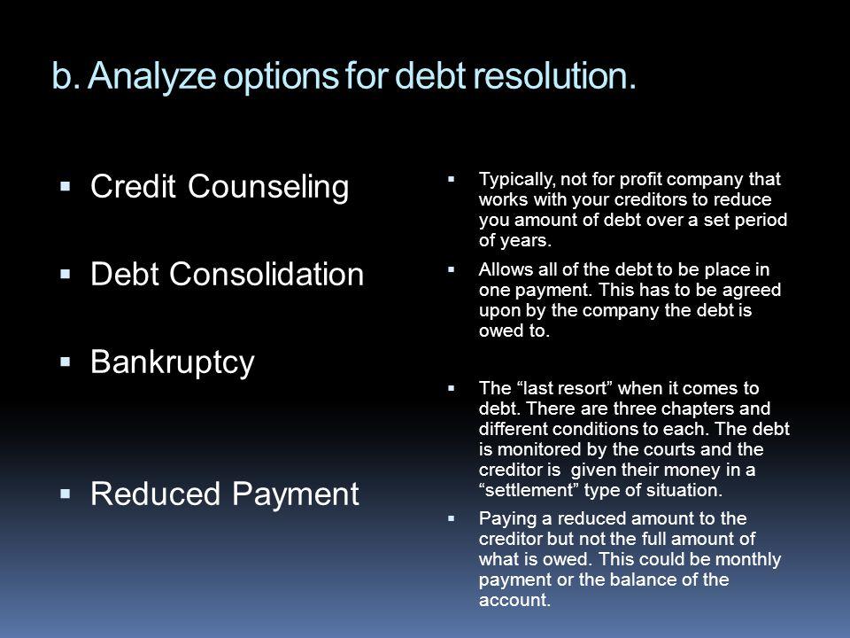 b. Analyze options for debt resolution.