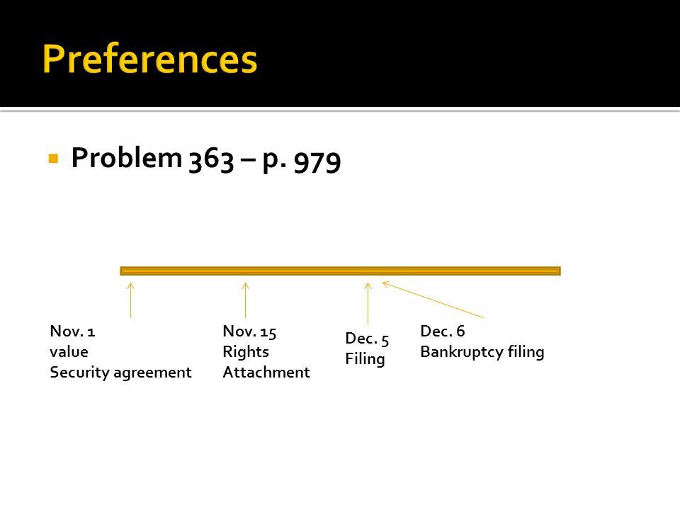  Problem 363 – p. 979 Nov. 1 value Security agreement Nov.