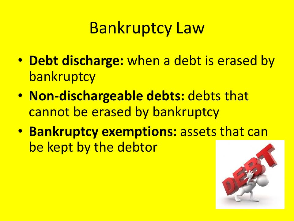 Bankruptcy Law Debt discharge: when a debt is erased by bankruptcy Non-dischargeable debts: debts that cannot be erased by bankruptcy Bankruptcy exemptions: assets that can be kept by the debtor