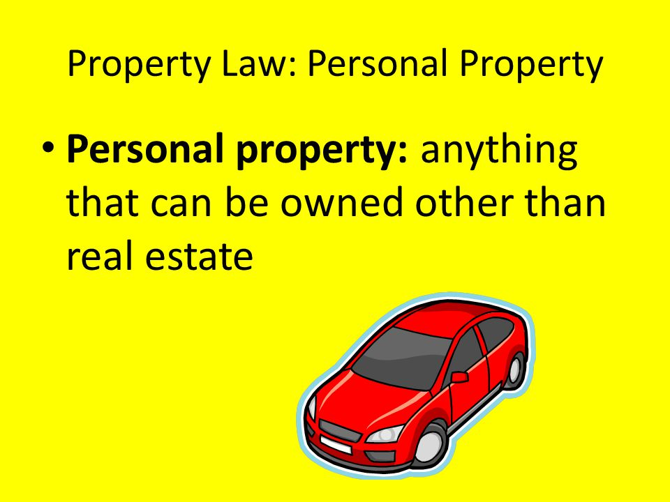 Property Law: Personal Property Personal property: anything that can be owned other than real estate