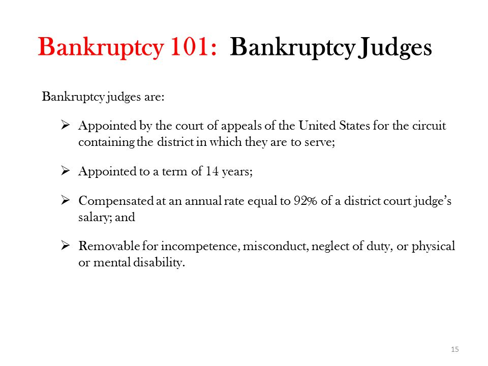 Bankruptcy judges are:  Appointed by the court of appeals of the United States for the circuit containing the district in which they are to serve;  Appointed to a term of 14 years;  Compensated at an annual rate equal to 92% of a district court judge's salary; and  Removable for incompetence, misconduct, neglect of duty, or physical or mental disability.